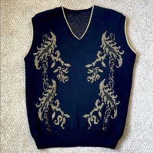Vintage Early 90s Black and Gold Knit Swester Vest